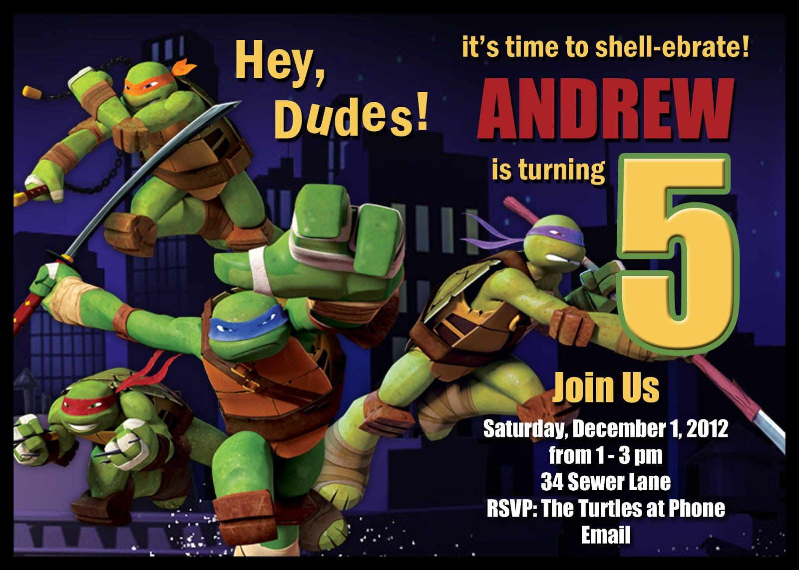 Free FREE Template Printable Ninja Turtle Birthday Invitations
