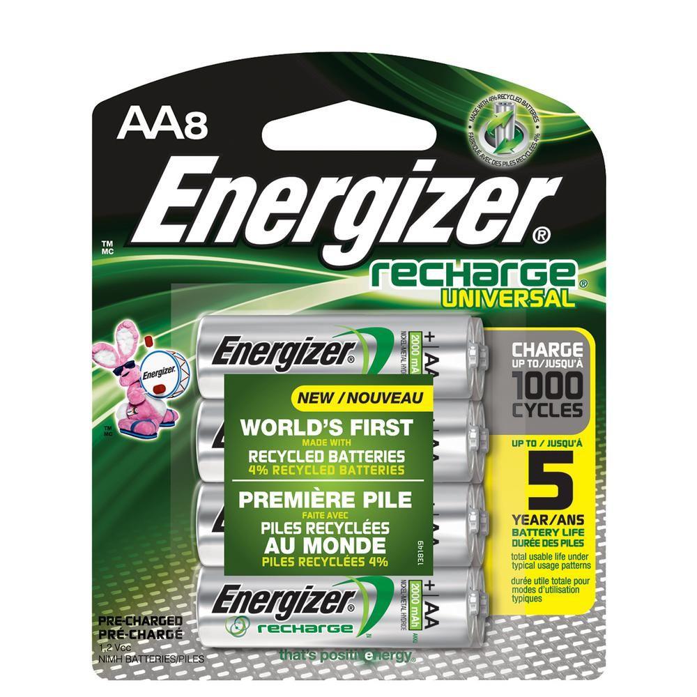Energizer Recharge Universal Rechargeable Aa Batteries 8 Pack Double A Rechargeable Batteries Unh15bp 8 The Home Depot Energizer Rechargeable Batteries Batteries