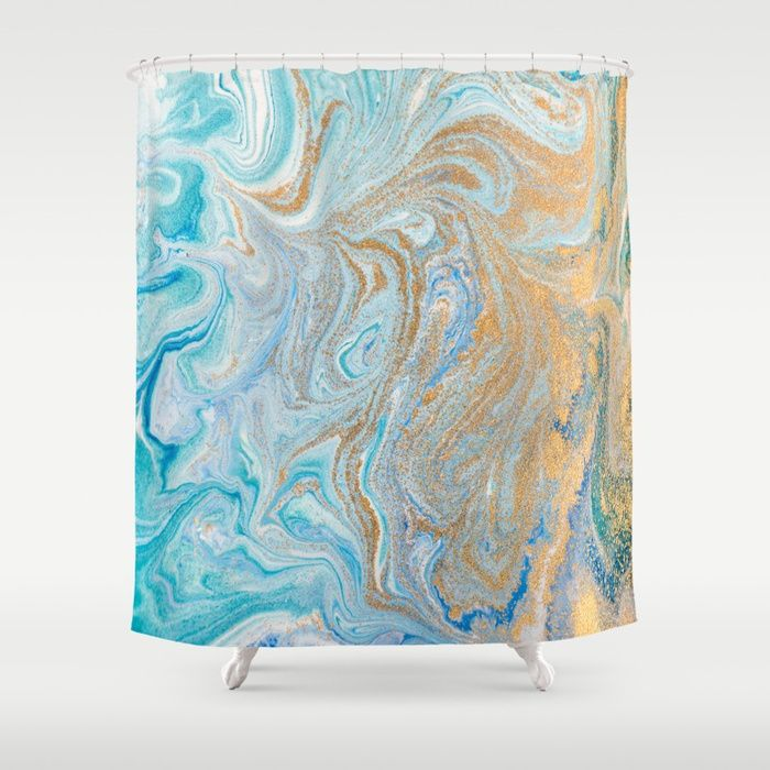 Marble Turquoise Gold Silver Shower Curtain By Healinglove8