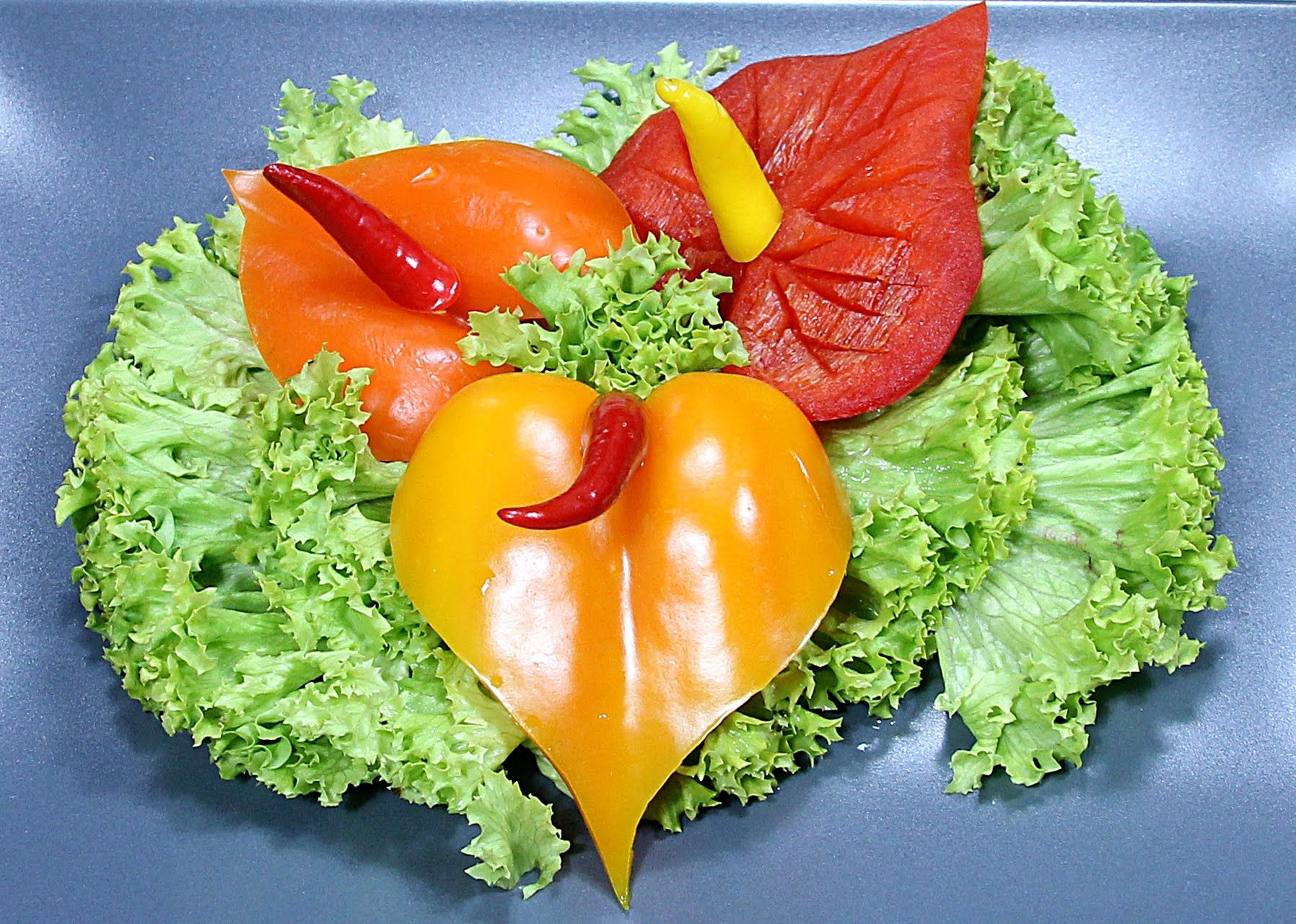 free vegetable carving course pepper anthurium darmowy kurs