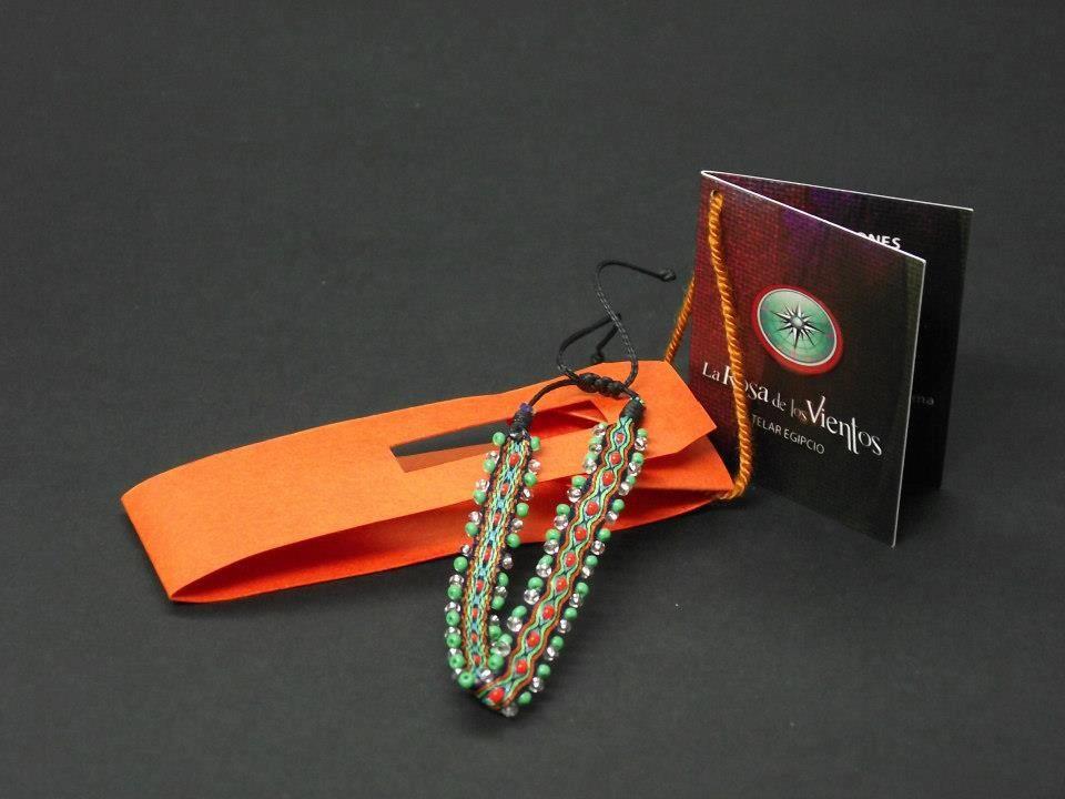 1acf60dc0fee pulsera telar egipcio tejida con mostacilla   tablet weaving - card ...