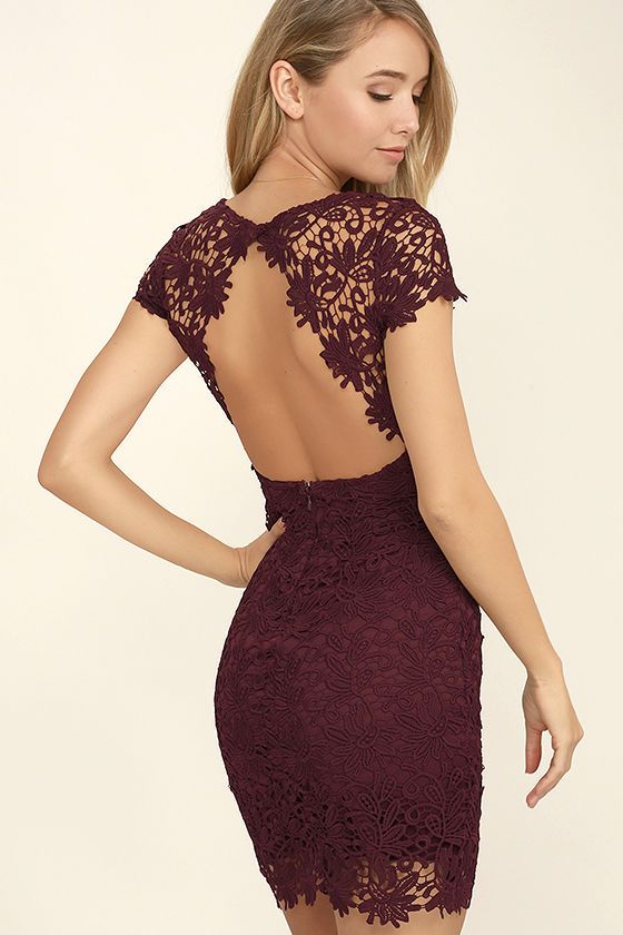Hidden Talent Backless Burgundy Lace Dress | Bodycon dress, Lace ...