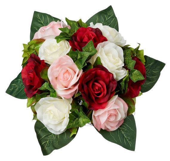 Red Pink and Ivory Silk Rose Nosegay - Silk Bridal Wedding Bouquet #silkbridalbouquet