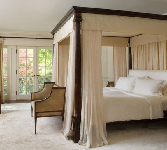 Master Bedroom Contains Of Elegant Canopy Bed Wooden Bedside Tables Elegant Table Lamps And Classic Upholstered Chairs