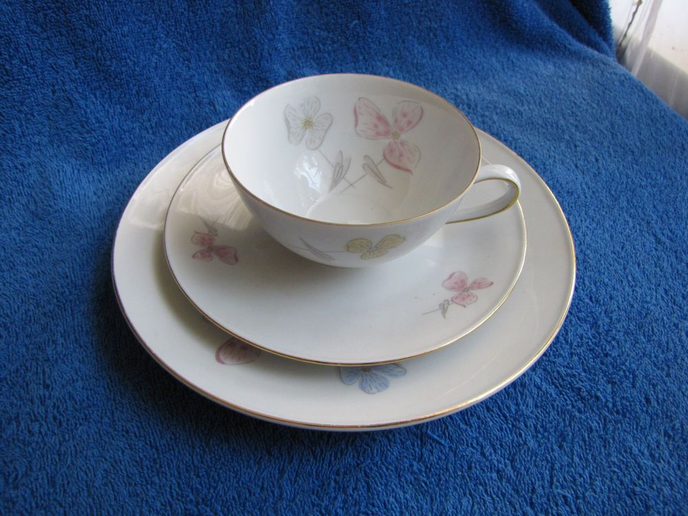 germany bavaria tirschenreuth tea pair cup saucer plate 3 pcs white blue gold bavaria