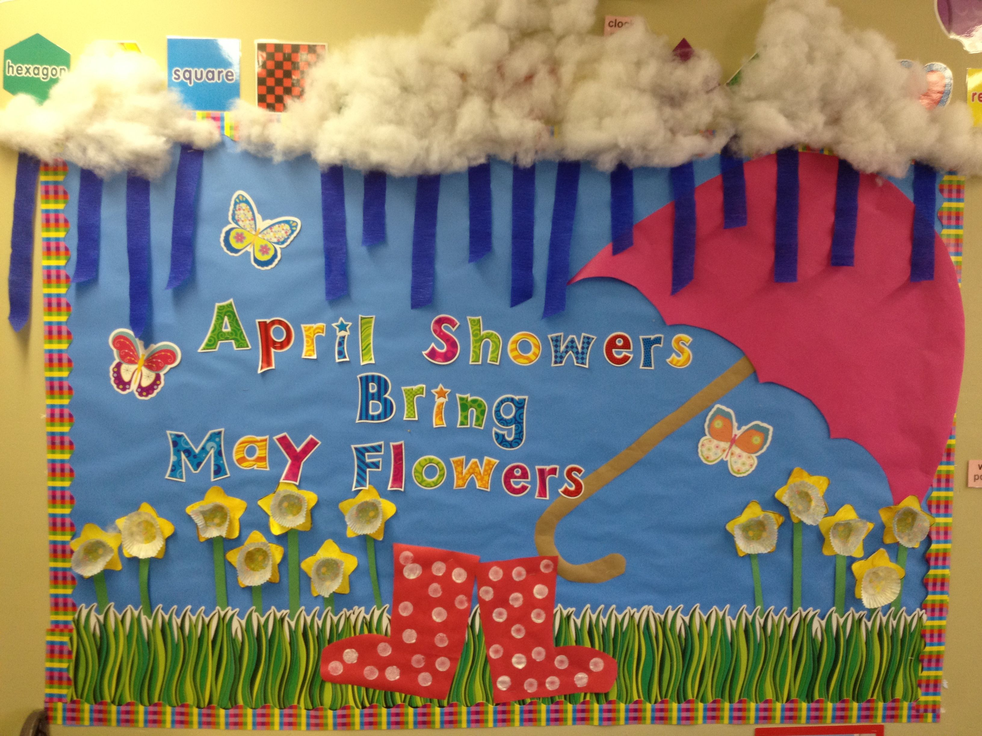 Hand Print Spring Time Crafts Changed The Easter Bulletin Board To