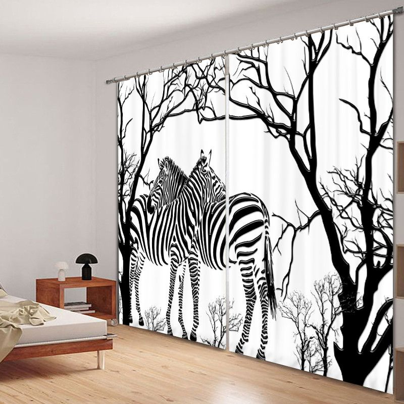 Mehr Vorhänge-Informationen über Schwarz weiß zebra print Luxus - wohnzimmer schwarz wei