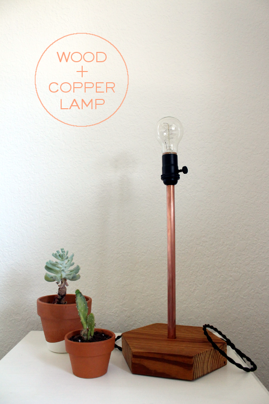 DIY copper and wood table lamp using electrical components from