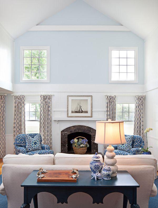 Cool Blue Living Room Ideas High Ceiling Living Room Blue