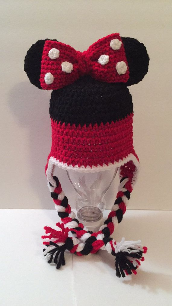 Minnie Mickey Mouse Hat Beanie Any Size By Kittyskreationsb
