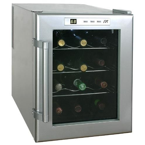 Sunpentown 12 Bottle Thermoelectric Freestanding Wine Cooler Glass Door Stainless Steel Trim Wc 12 Thermoelectric Wine Cooler Italian Wine Wine Refrigerator