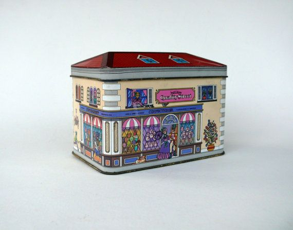 Vintage French Quality Street Tin House Shaped Tin by FrenchCandy