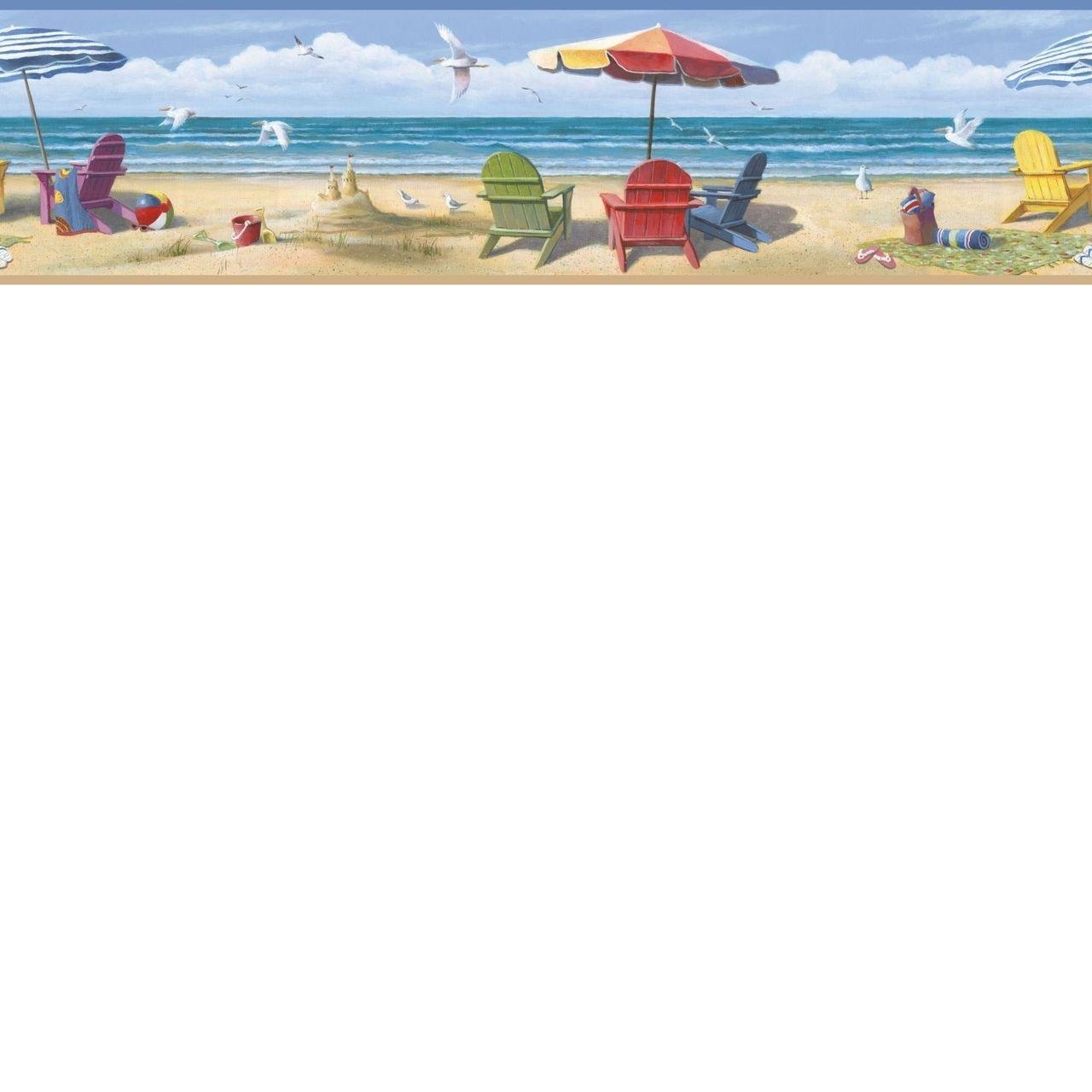 Http Www Papermywalls Com Coastal Waters Volume Ii Beach Sumer At The Beach Wallpaper Border Ct4609 Beach Themed Wallpaper Beach Wallpaper Coastal Wallpaper
