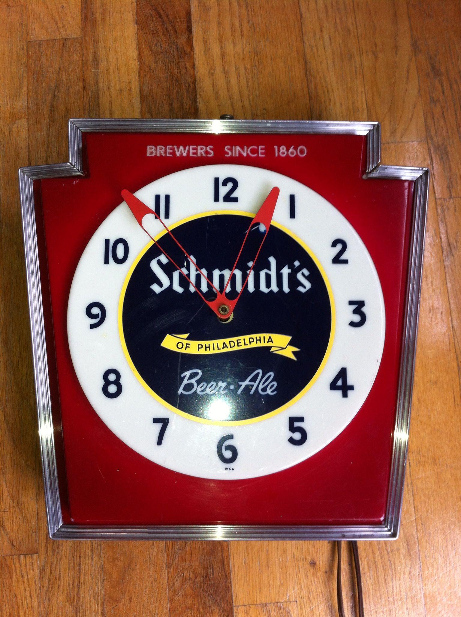 Schmidts Beer Clock Sb Schmidt Beer Beer Vintage