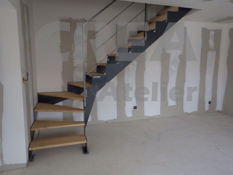 escalier quart tournant bas limon demi cr maill re acier bross vernis marches h tre garde. Black Bedroom Furniture Sets. Home Design Ideas