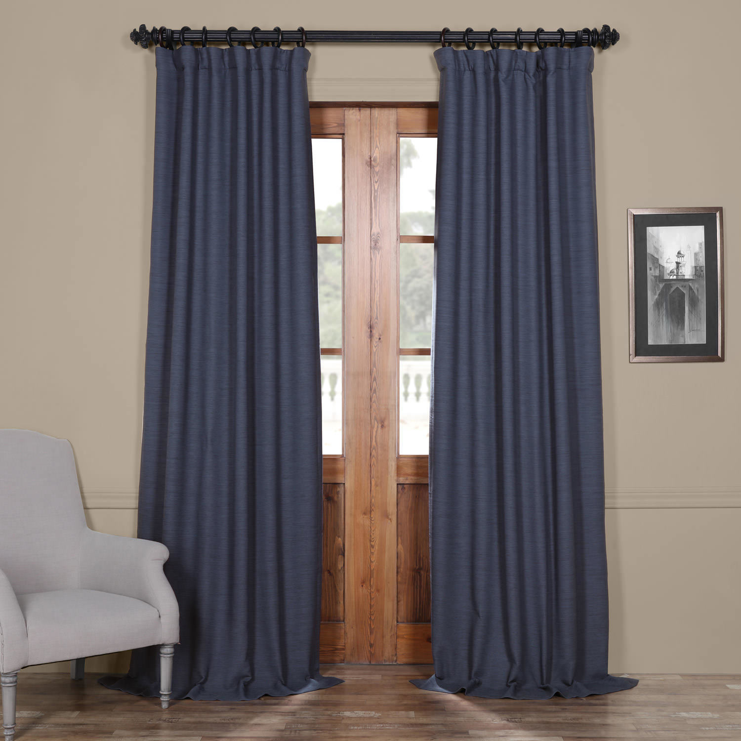 Exclusive Fabrics Bellino Blue Blackout Curtain Panel 120 As Is