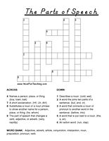 parts of speech crossword puzzle printable crossword puzzles worksheets and word search. Black Bedroom Furniture Sets. Home Design Ideas