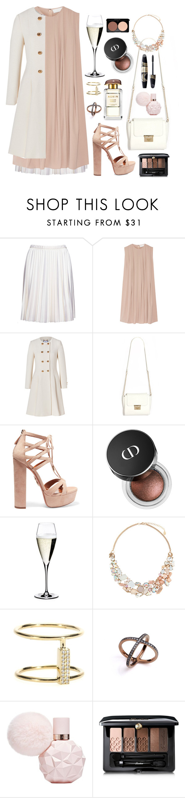 """""""Pleated Crepe Dress"""" by cherieaustin ❤ liked on Polyvore featuring Marc Jacobs, CO, Moschino, Aquazzura, Riedel, Accessorize, Ileana Makri, CFconcept, Max Factor and Guerlain"""