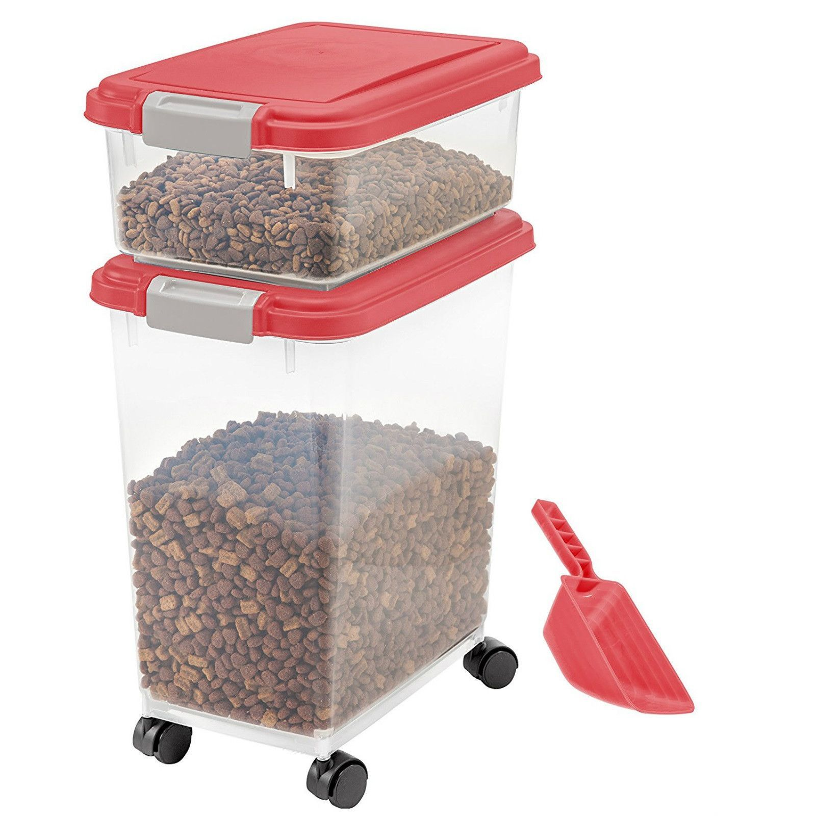Pet Food Storage Container Airtight Plastic Bin Rolling Feed Scoop Dog Cat  Product Description: Pet