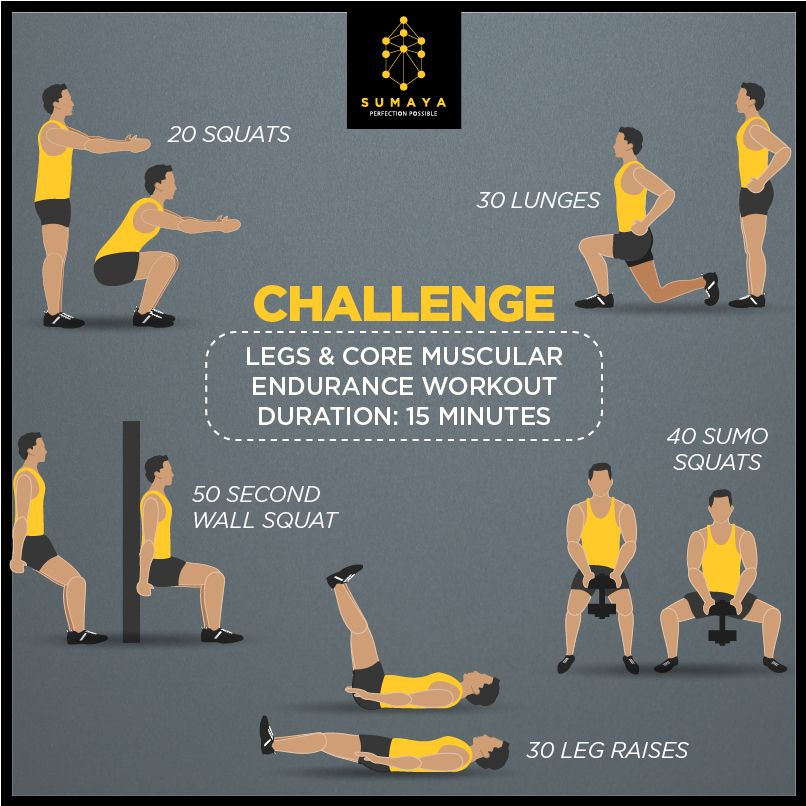 A Fitness Challenge Designed To Improve Your Muscular Endurance In Your Legs And Core Sumaya Infografit Muscular Endurance Endurance Workout Workout