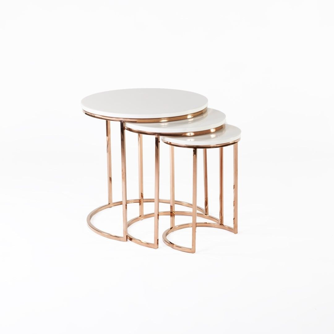 Ravenna Nesting Table In White And Rose Gold By Control Brand