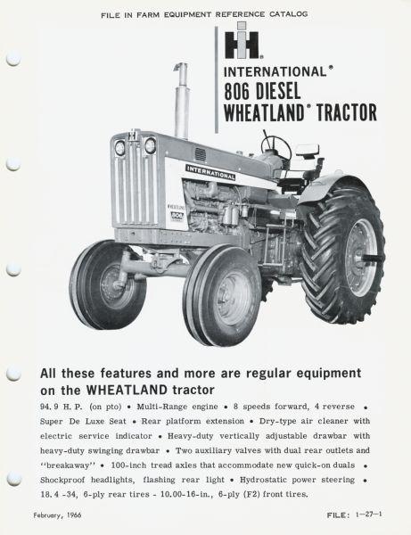 International 806 Wheatland Tractor Advertisement