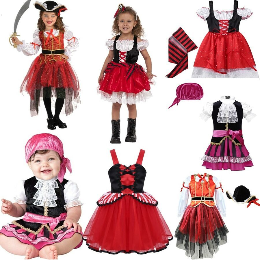 Child Red Pirate Girl Outfit Fancy Dress Costume Book Week Caribbean Kids Girls