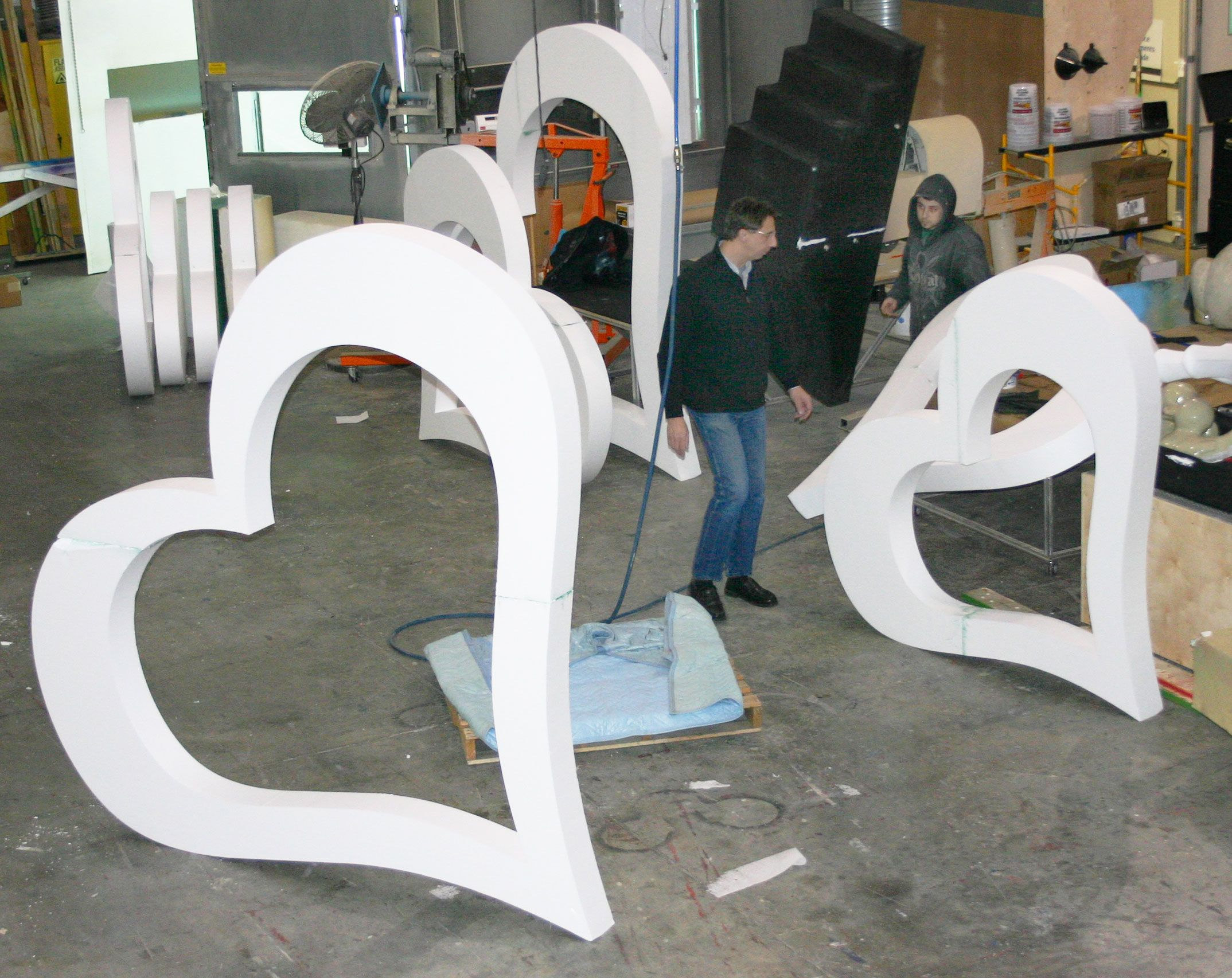 Rainer and nick create custom sculptures for center stage Valentine stage decorations