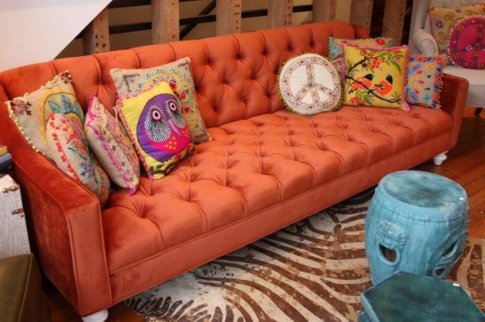 Audrey Sofa In Burnt Orange Velvet Modern Sofas