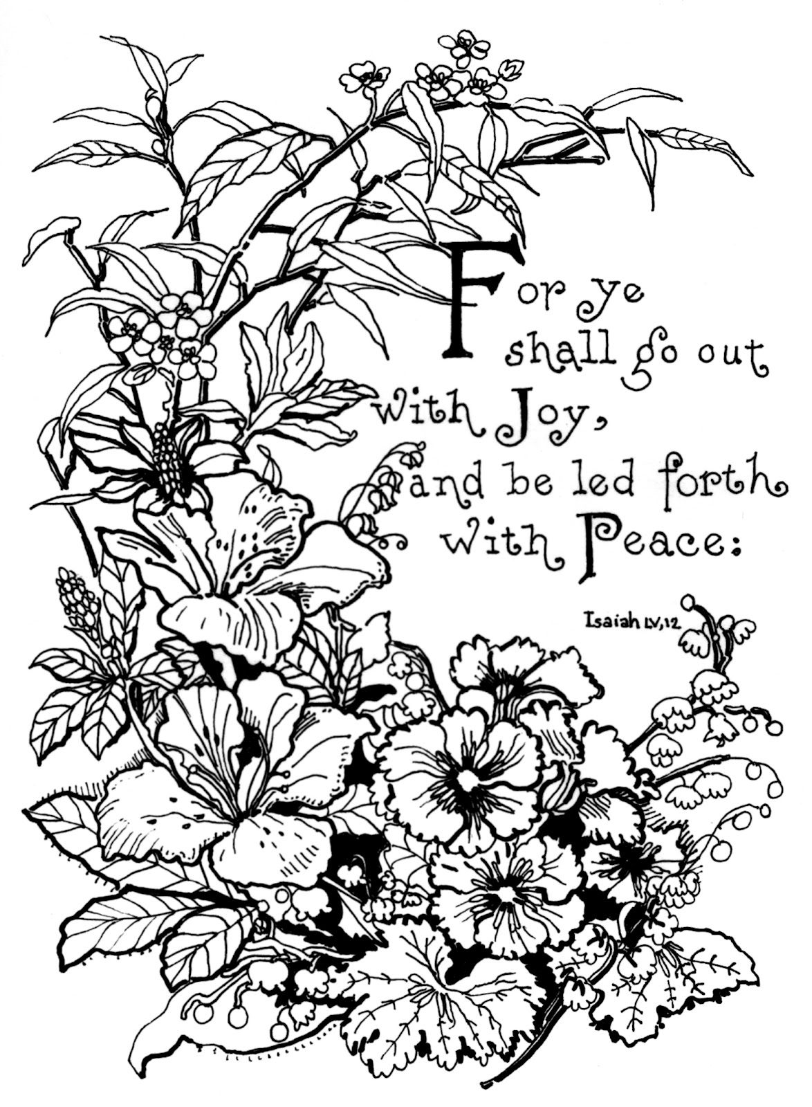 isaiah 5512 lilies and pansies fantasy coloring pages