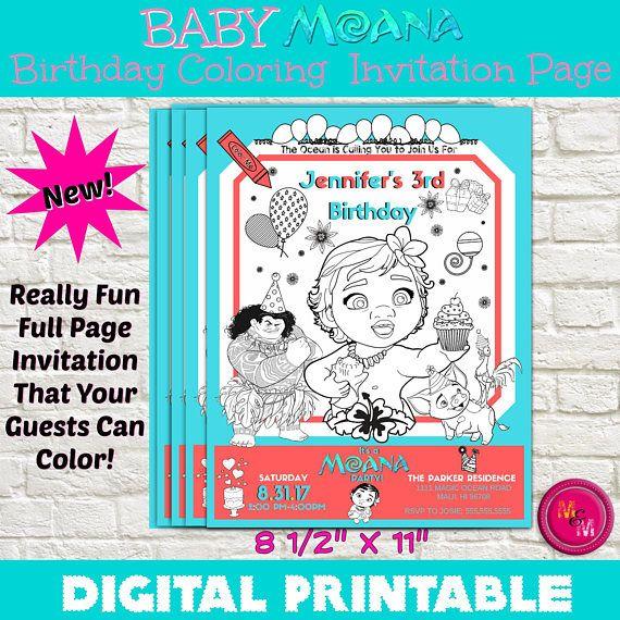 Personalized Baby Moana Invitation Printable, Baby Moana Birthday ...