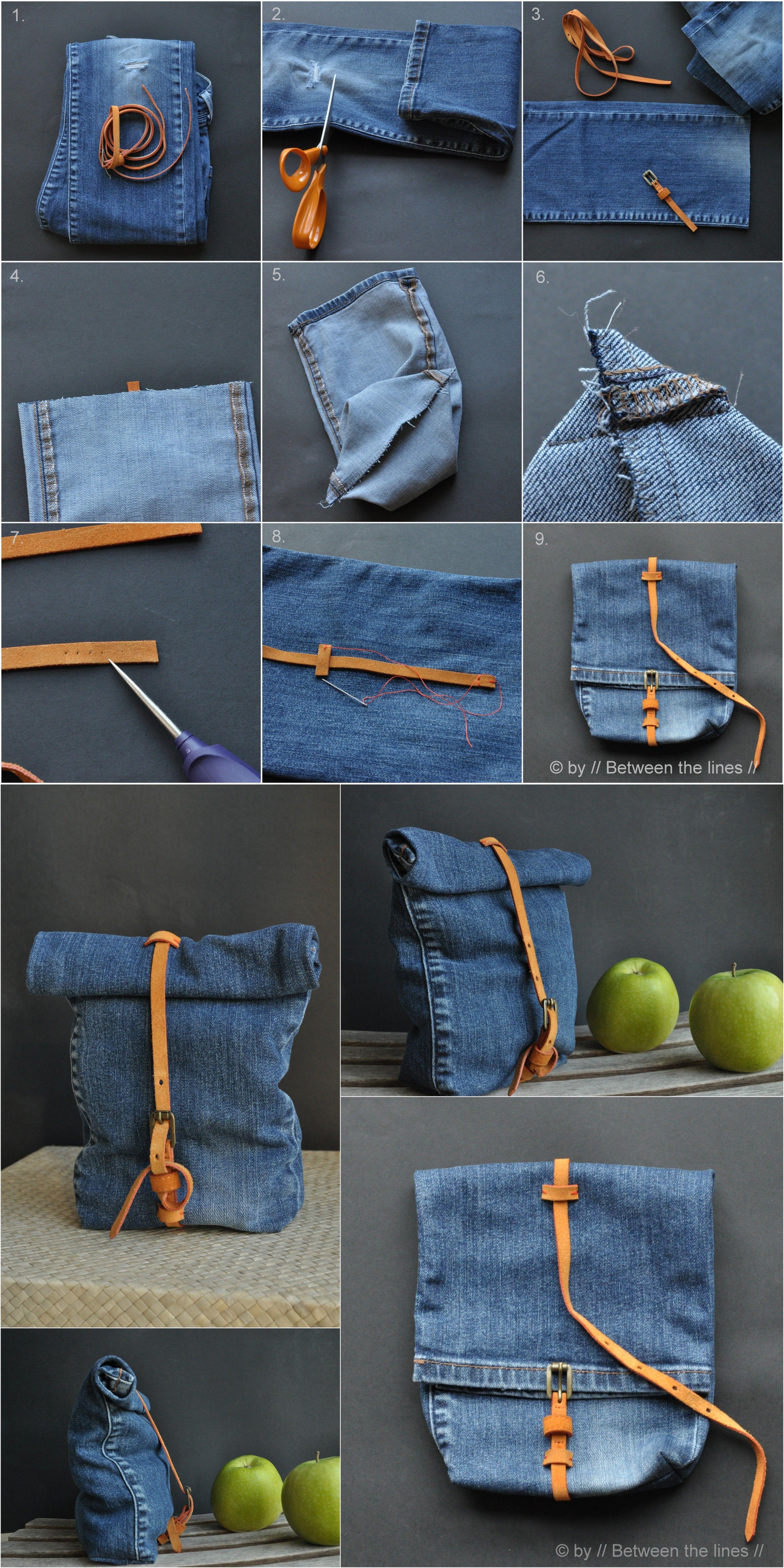 Ingenioso Bolso Reciclando Un Pantalón Vaquero Muy Ingenioso Jeans Caseros Como Hacer Bolsos Hacer Un Bolso