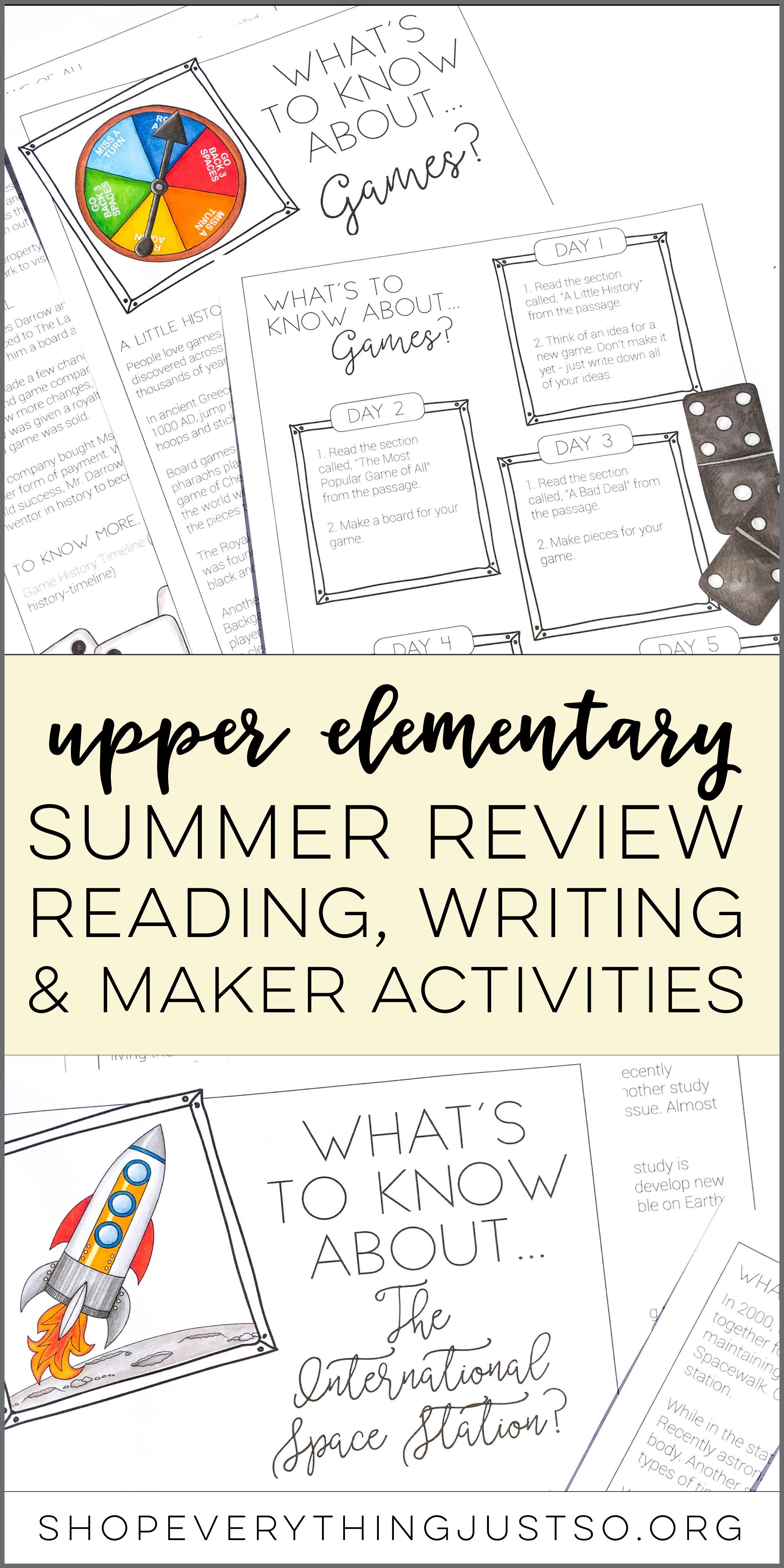 Summer Writing And Reading