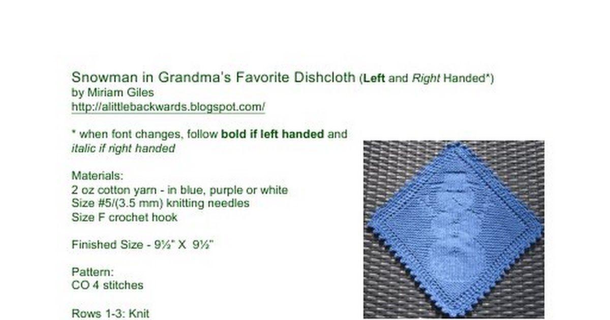 Snowman in Grandma\'s Favorite Dishcloth LH & RH.pdf | knitting ...