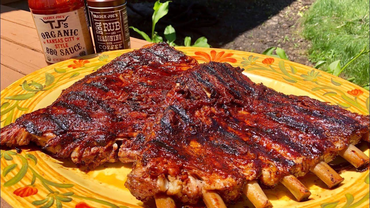 Fall Off The Bone Ribs And Trader Joe S Coffee Garlic Rub Kansas City Bbq Sauce Product Review Youtub Side Dishes For Bbq Bbq Rub Recipe Summertime Recipes