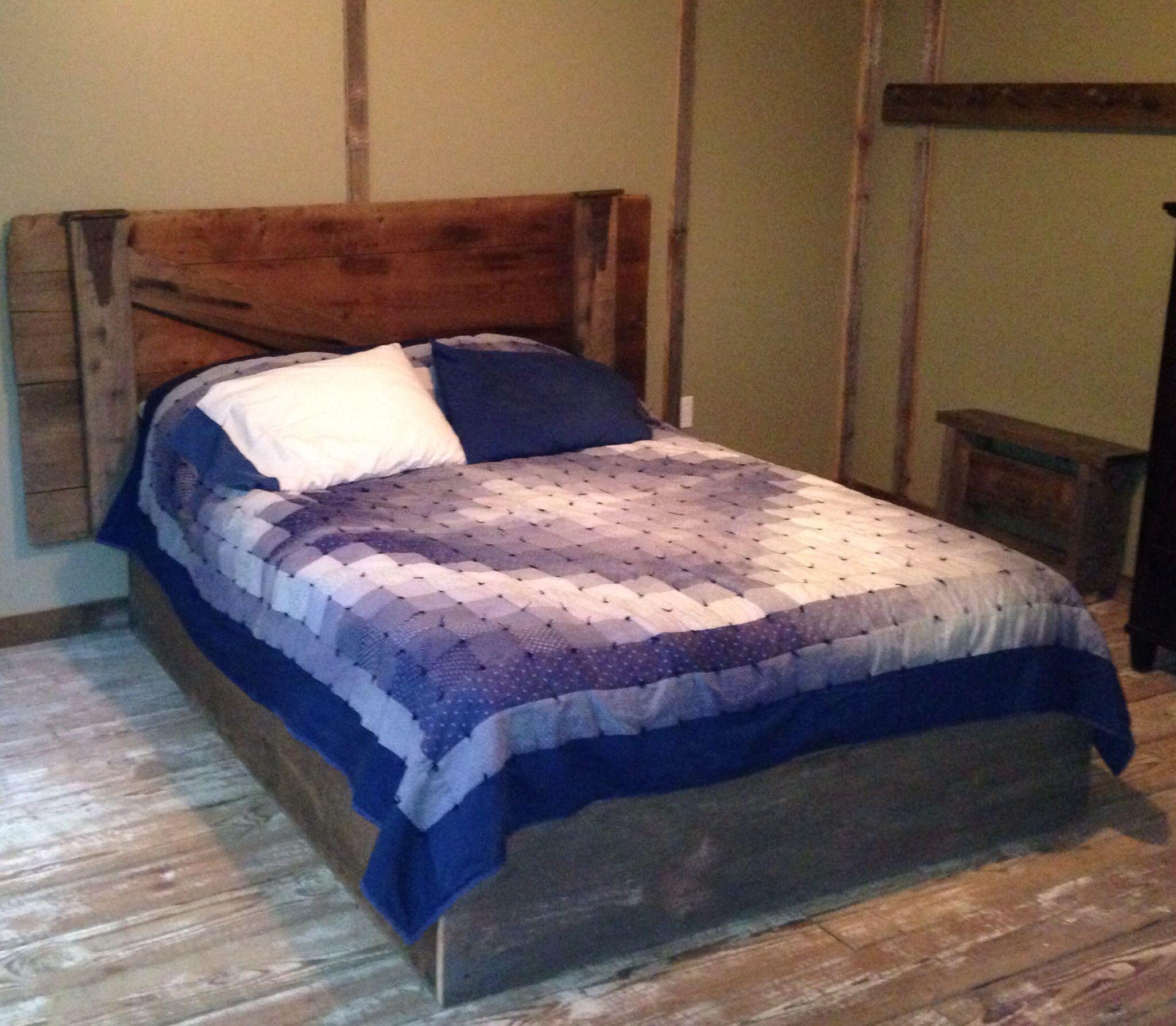 Rustic barn door headboard. Barn board bed frame. Cabin ...