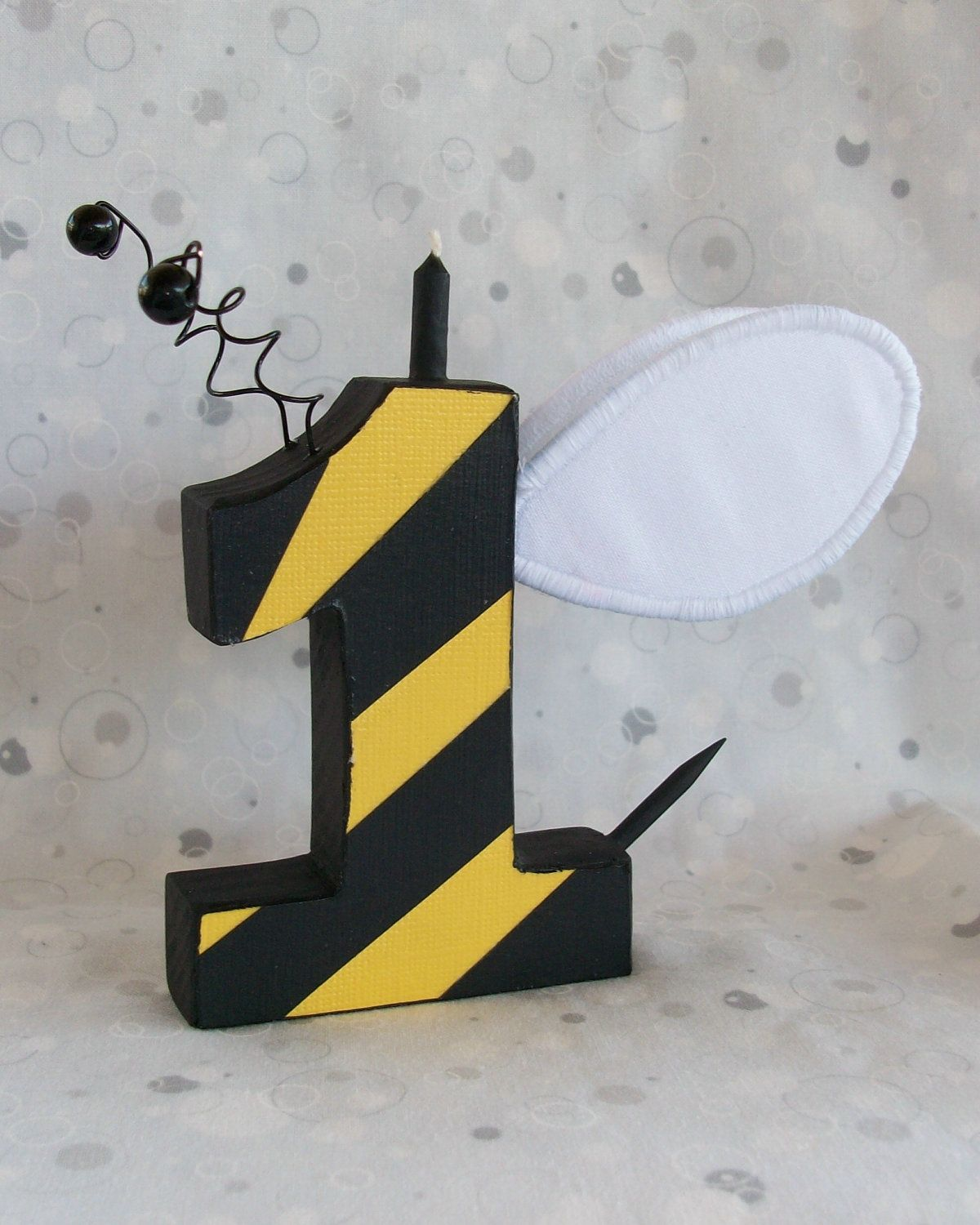 Bumble Bee Wooden Number Candle Choose Number 17 75 Via
