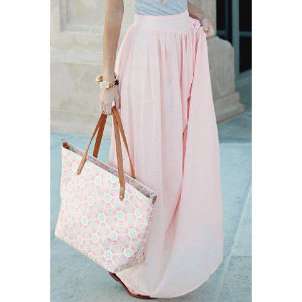 Sweet Candy Color Elastic Waist Long Skirt For Women