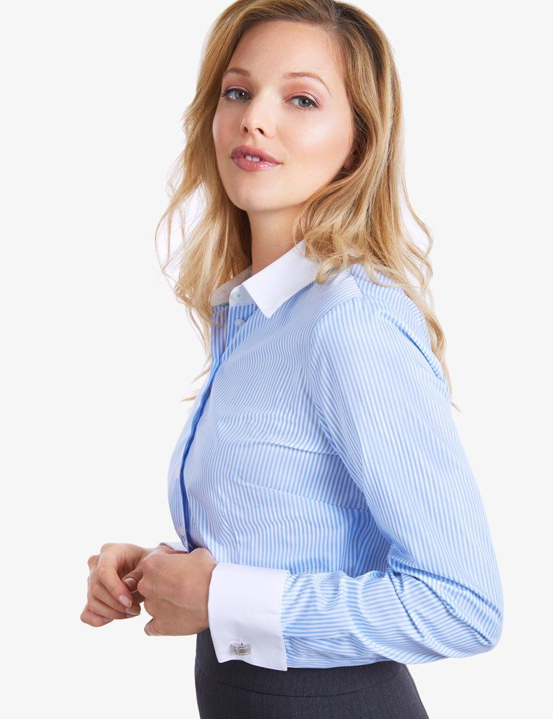 c8a8caa871af Women's Blue & White Bengal Stripe Fitted Executive Double Cuff Shirt