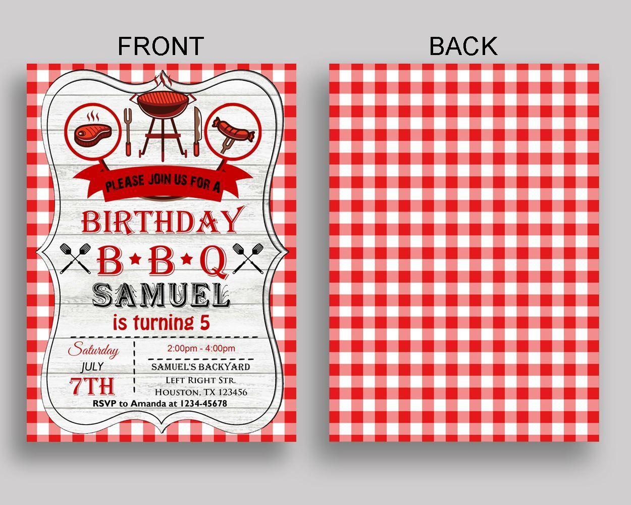 Barbecue Birthday Invitation Barbecue Birthday Party Invitation ...