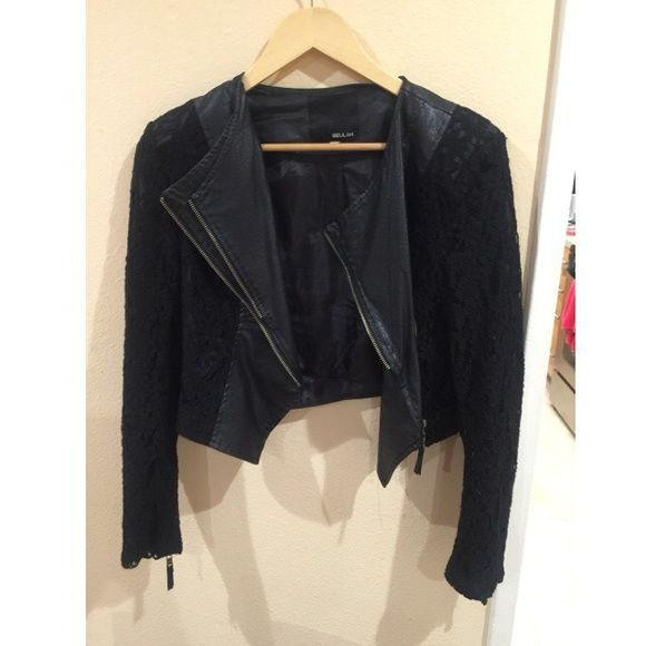 ANGL leather and lace jacket Perfect for a night out! ANGL size large leather and lace jacket ANGL Jackets & Coats