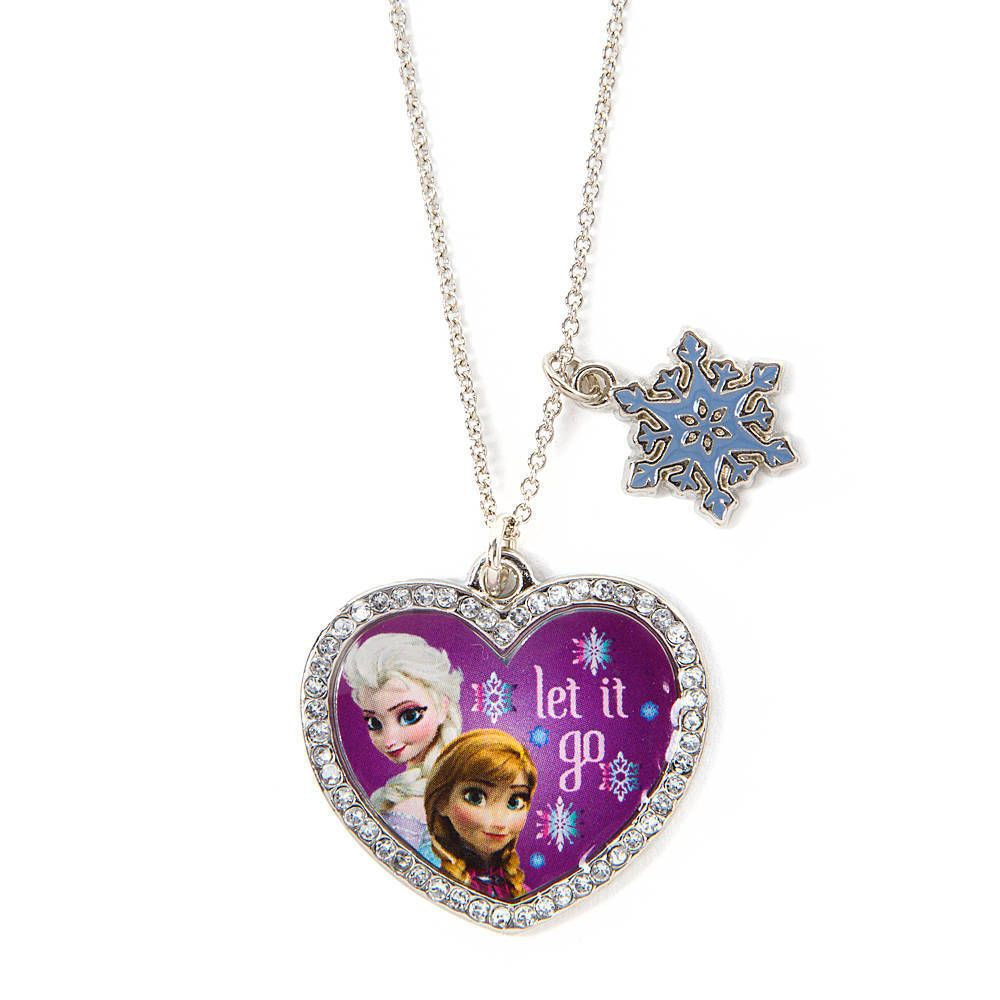 Disney Princess Frozen Olaf Girls Heart Necklace /& Ring Set Sparkly Snowflakes