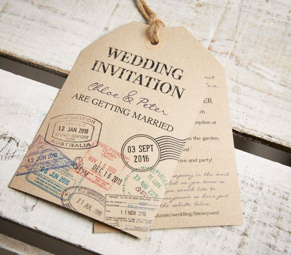 Vintage Style Kraft Luggage Tag Wedding Invitations And