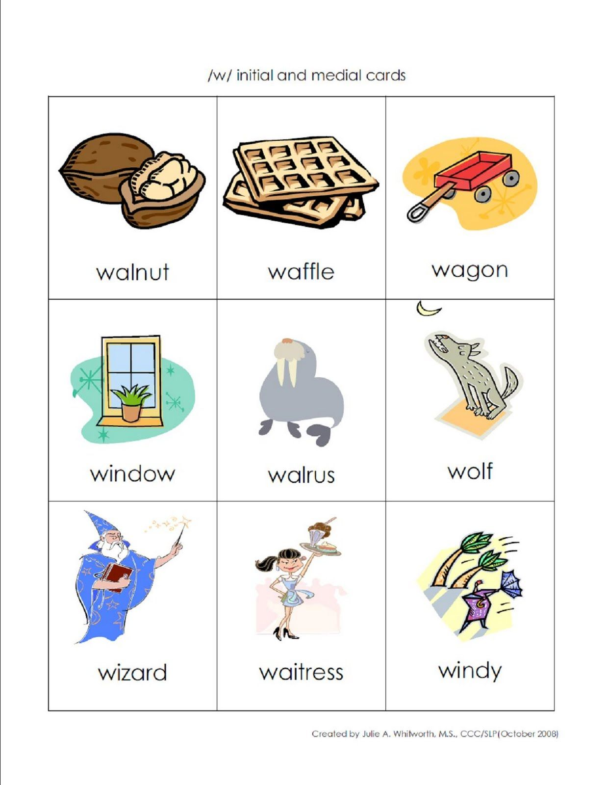 W Initial Words With Images