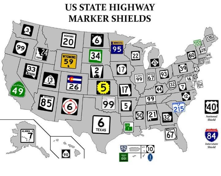 US State Highway Route Marker Shields | Misc | Map, U.s. ...