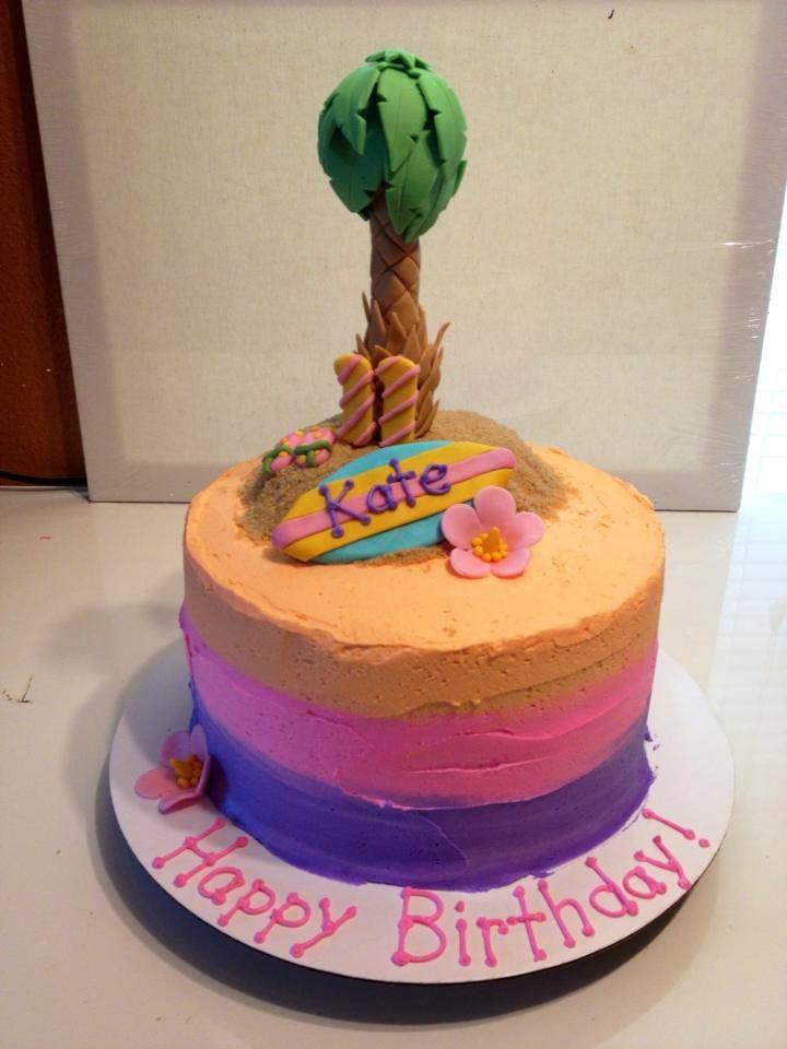 Hombre Sunset Hawaiian Palm Tree Surf Girl Birthday Cake Www