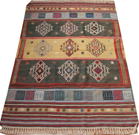 aztec rug small rug 4x6 yellow rug green rug turkish rug bathroom