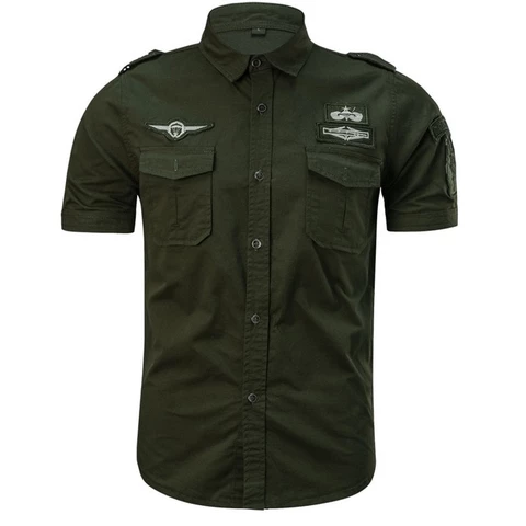 Blouse Mens Casual Fashion Military Pure Color Pocket Short Sleeve Loose Shirts
