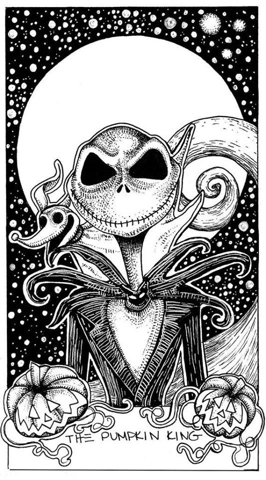 jack skellington nightmare before christmas the pumpkin king tarot card illustration - Nightmare Before Christmas Coloring Book