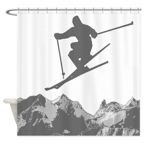 Skiing Shower Curtain Cabin Ideas Curtains Ski Blinds Draping